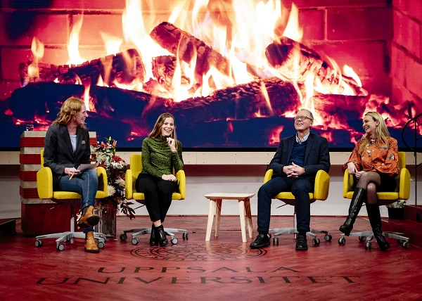 Participants in a fireside chat